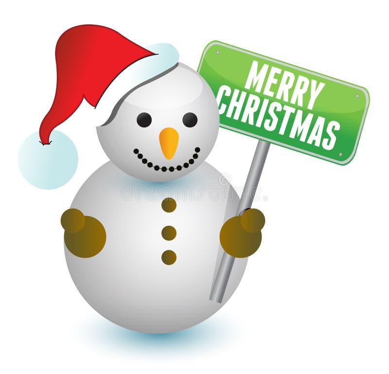 Pupazzo di neve e segno di Buon Natale illustrazione di stock
