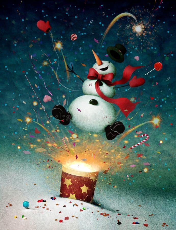 Pupazzo di neve emesso dai petardi illustrazione di stock