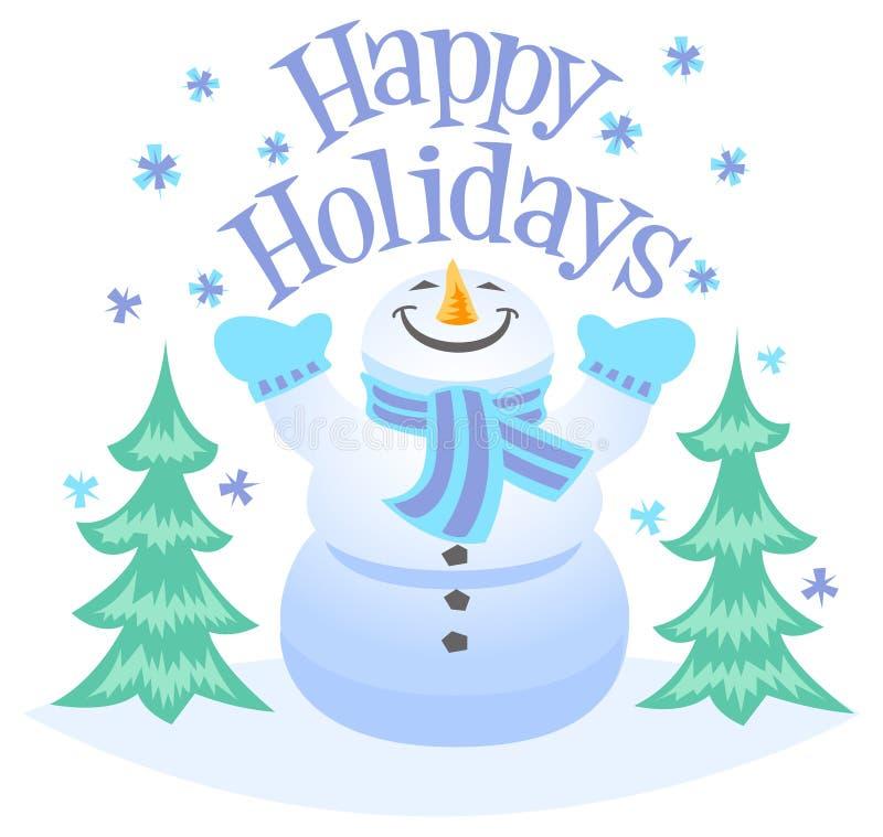 Pupazzo di neve felice di feste illustrazione di stock