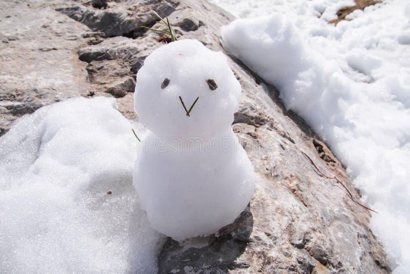 Pupazzo di neve felice, il Nordkette, il parco naturale di Karwendel fotografia stock