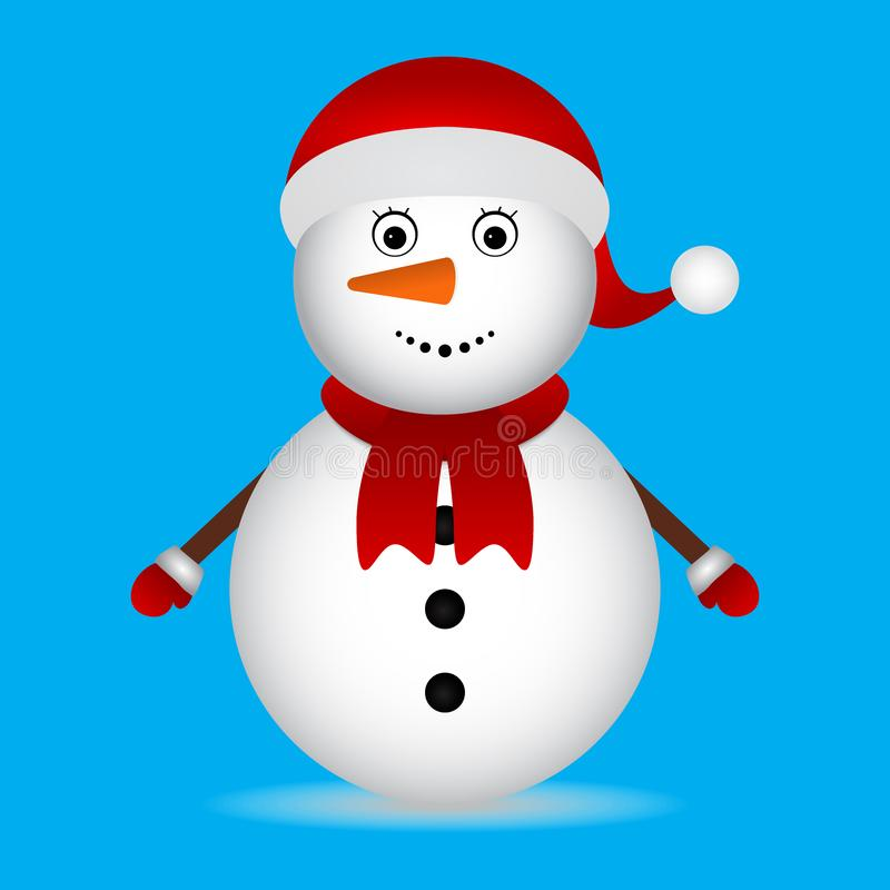 Pupazzo di neve di Natale sui caratteri blu di Natale del fondo illustrazione vettoriale