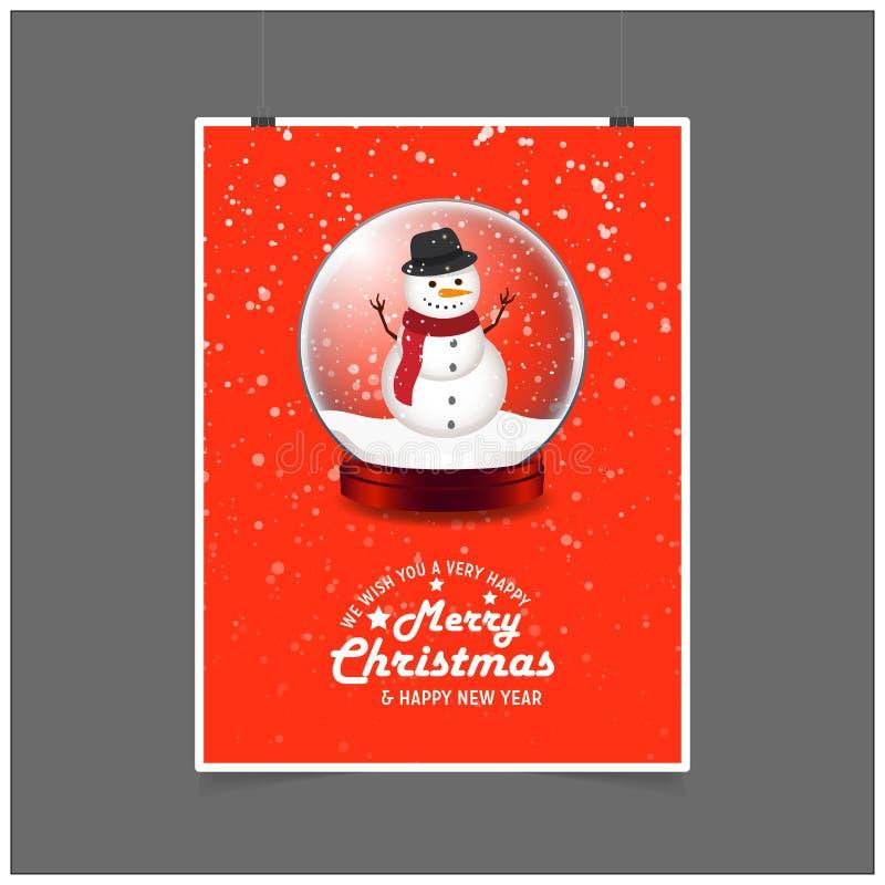 Pupazzo di neve nella palla di Natale Vi auguriamo il Buon Natale molto felice ed il fondo rosso del buon anno illustrazione di stock