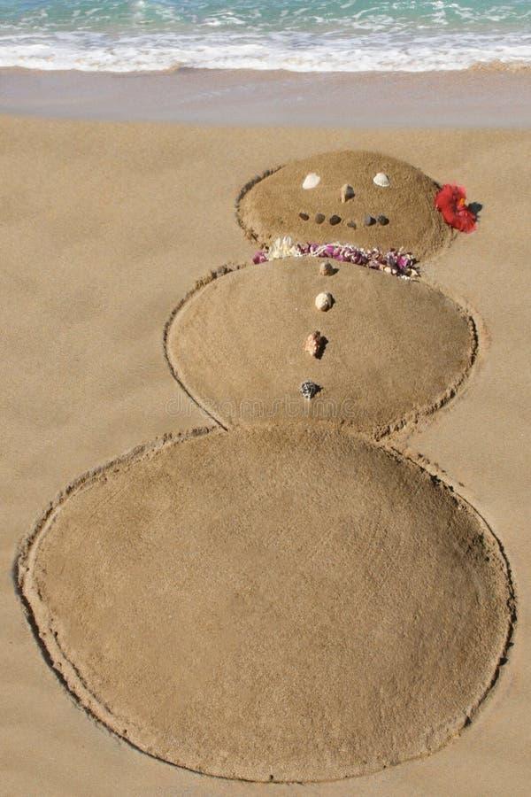 Pupazzo di neve nella sabbia - divertimento sulla spiaggia nell'inverno - Maui, Hawai immagini stock libere da diritti