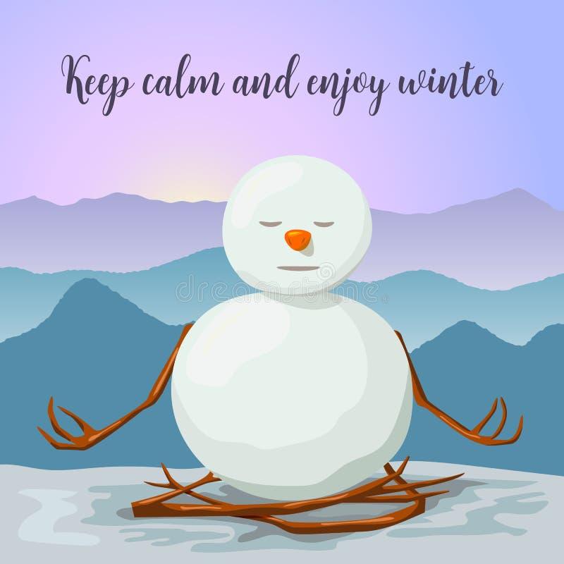 Pupazzo di neve pacifico e rilassato Posizione del loto di yoga Alba in montagne di inverno illustrazione vettoriale