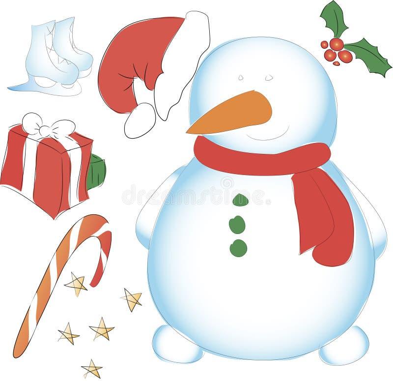 Pupazzo di neve senza cappello, pattinare, scatola ed altri elementi decorativi nuovo immagini stock libere da diritti
