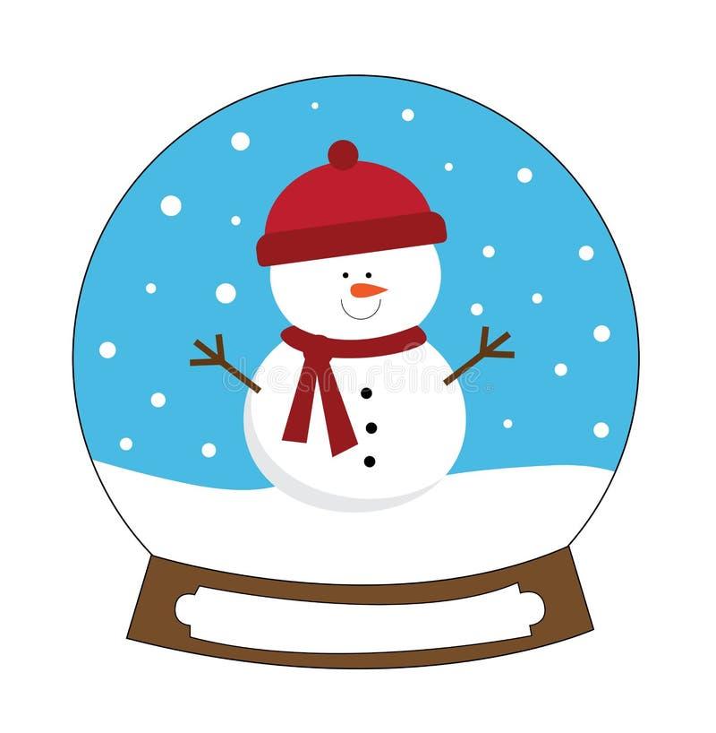 Pupazzo di neve Snowglobe di festa di Buon Natale illustrazione vettoriale