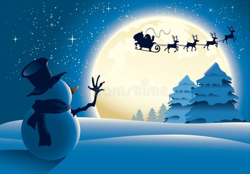 Pupazzo di neve solo che fluttua alla slitta della Santa illustrazione di stock