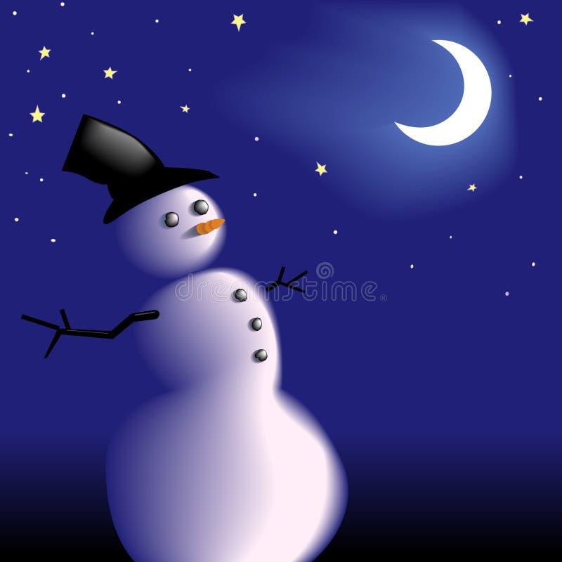 Pupazzo di neve sotto il cielo notturno libero freddo gelido di inverno illustrazione vettoriale
