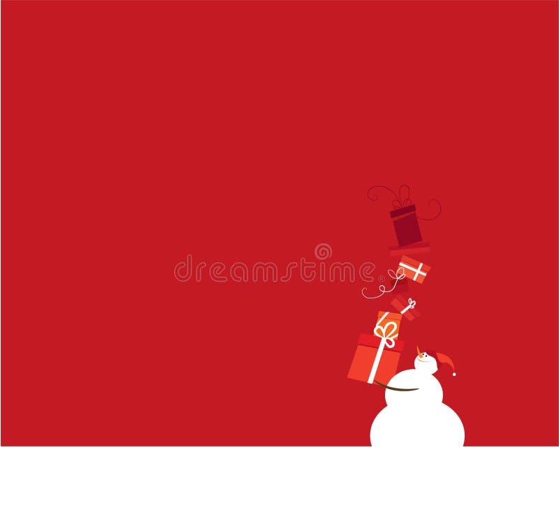 Pupazzo di neve sovraccaricato di regali illustrazione vettoriale