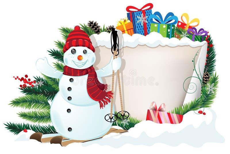 Pupazzo di neve sugli sci e sui regali di Natale illustrazione di stock