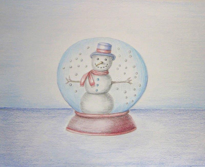 Pupazzo di neve sul globo illustrazione di stock