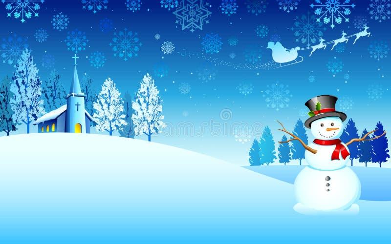 Pupazzo di neve sulla notte di natale illustrazione vettoriale