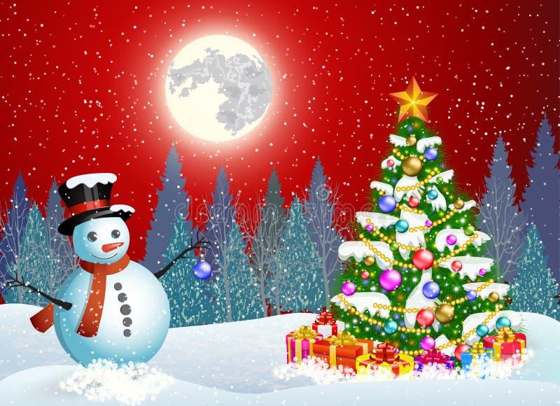 Pupazzo di neve sveglio che decora un albero di Natale illustrazione di stock