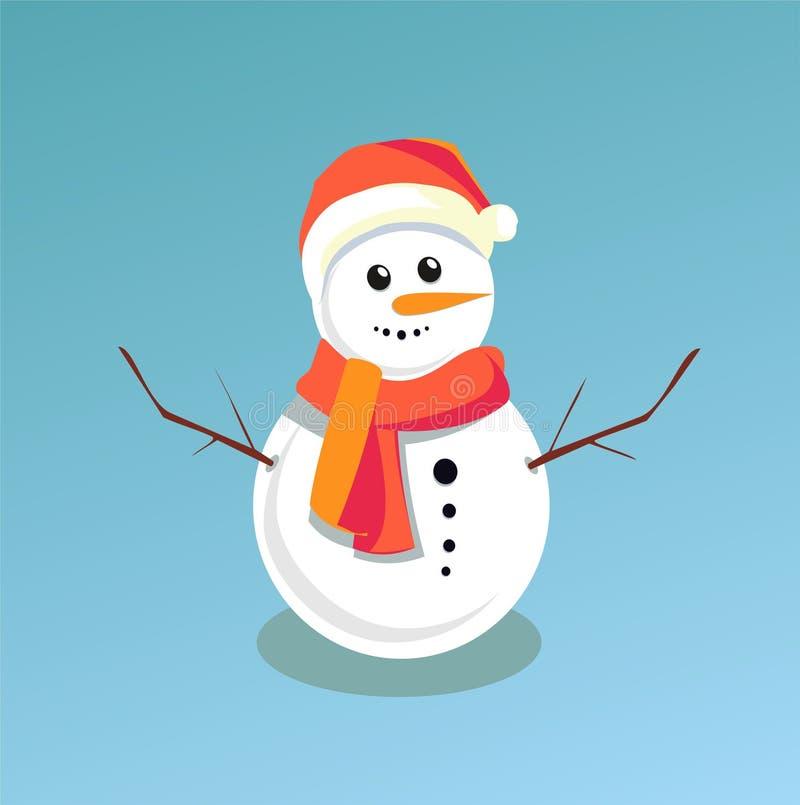 Pupazzo di neve sveglio su fondo blu-chiaro Illustrazione di vettore royalty illustrazione gratis