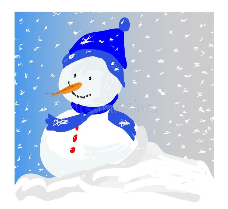 Pupazzo di neve in una bufera di neve royalty illustrazione gratis