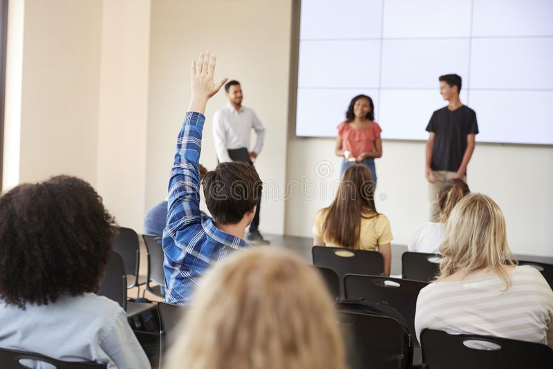 Pupil Asking Question During Presentation By High School Students royalty free stock images