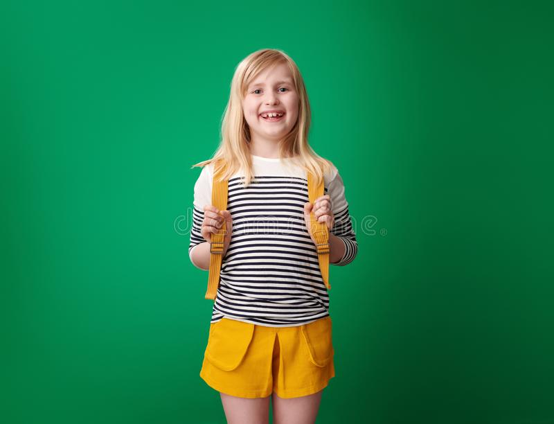 Pupil with backpack isolated on green royalty free stock images