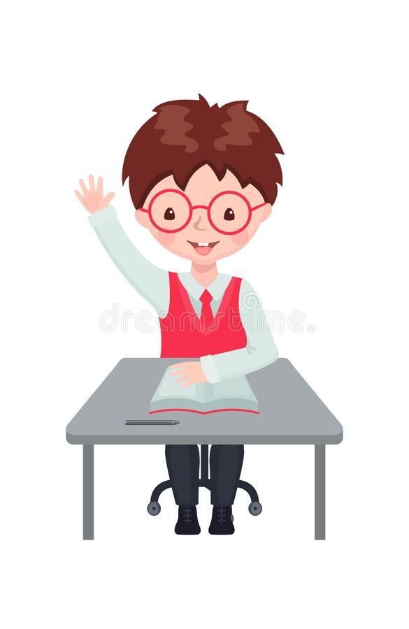 Pupil boy raising hand for an answer at the desk. Cute boy raising hand in the classroom for an answer isolated on white background. Pupil sitting at the desk royalty free illustration