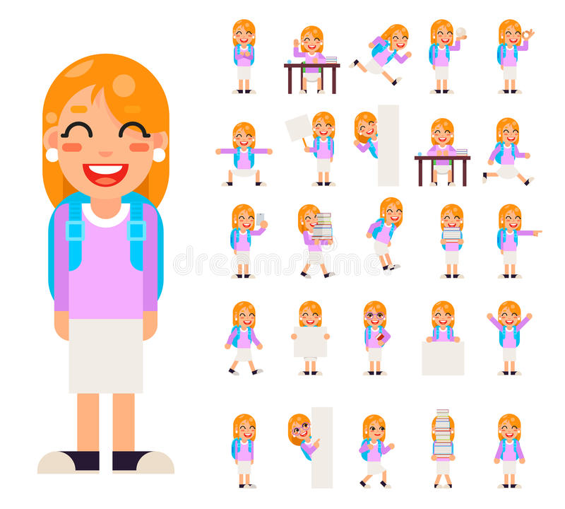 Pupil Girl School Children Student in Different Poses and Actions Teen Characters Kid Icons Set Isolated Education stock illustration