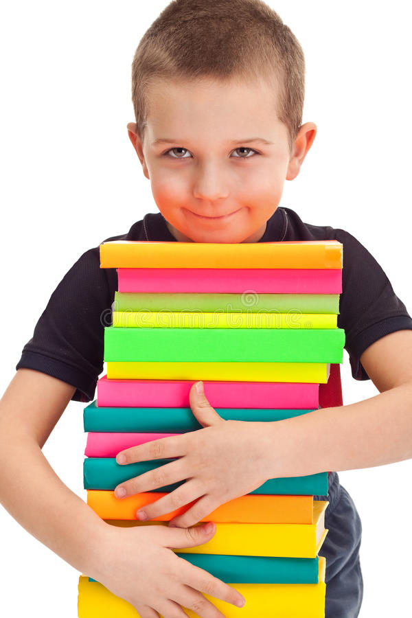 Download Pupil With Huge Pile Of Books Stock Images - Image: 19029544