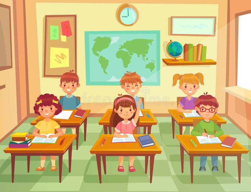 Pupil kids at classroom. Primary school children pupils, smiling boys and girls study in schools class cartoon vector vector illustration