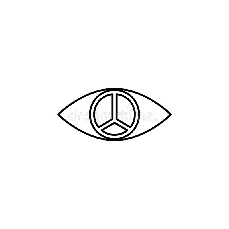 pupil of peace sign icon. Element of peace icon for mobile concept and web apps. Thin line pupil of peace sign icon can be used fo vector illustration