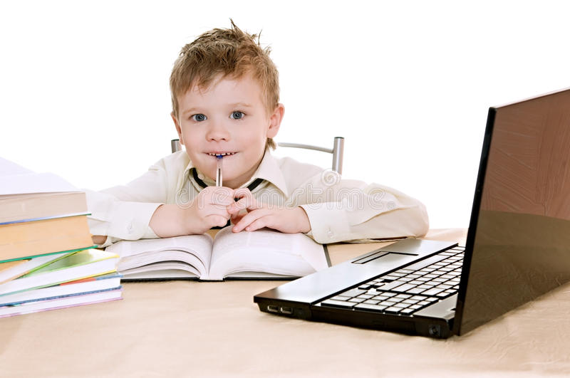 Pupil With Pen Royalty Free Stock Photography