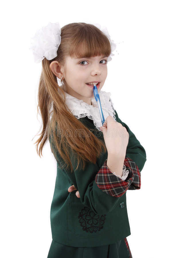 Pupil with pen. royalty free stock photography