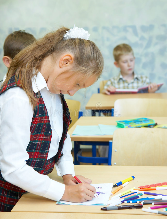 Pupils in a class. royalty free stock photography