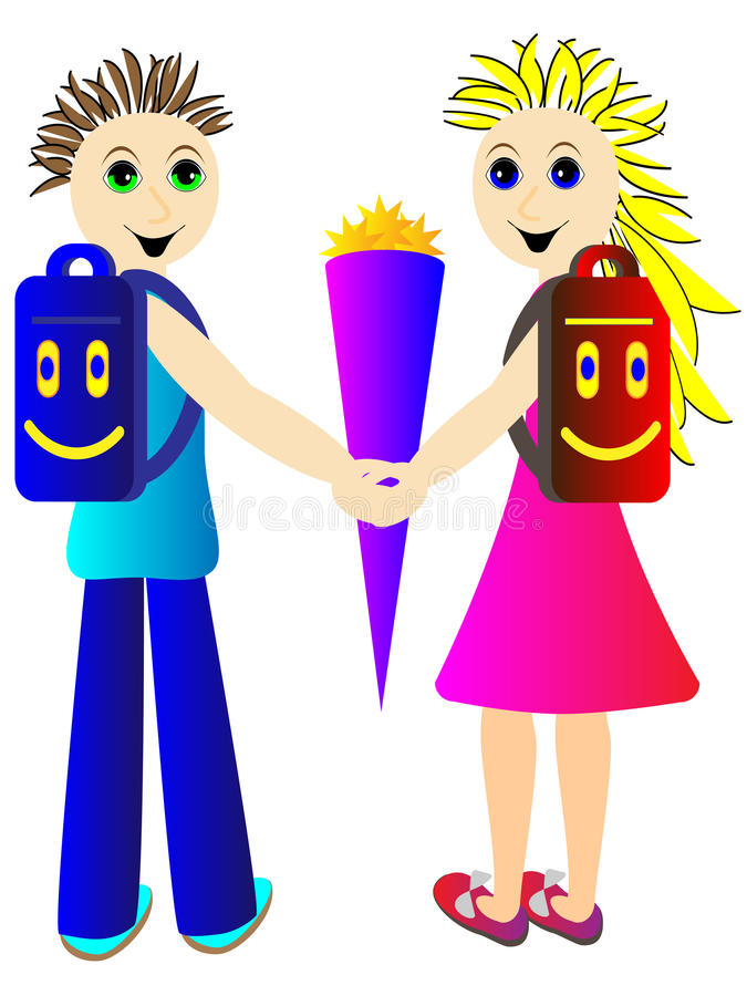 Pupils go in September for the first time in school stock illustration