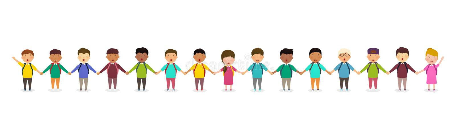 Pupils and kids holding hands. Children`s group of school children stands in row. Happy crowd of pupils on white background. royalty free illustration