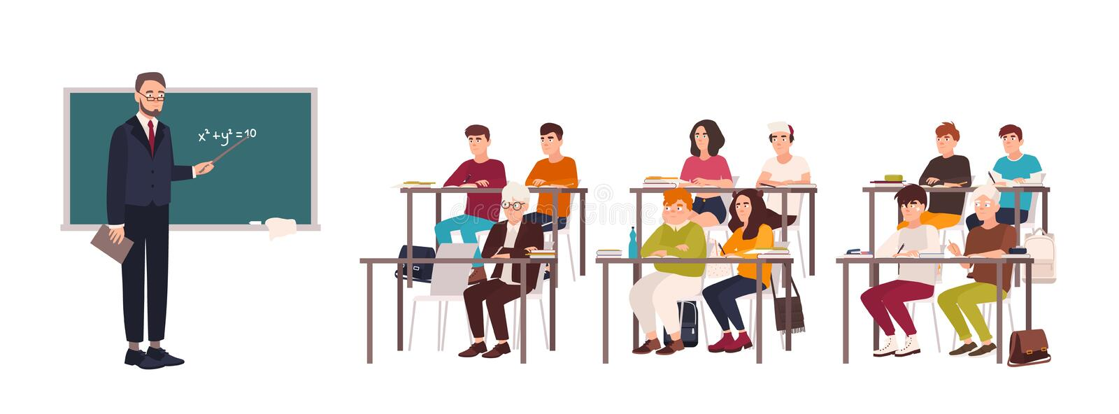 Pupils sitting at desks in classroom, demonstrating good behavior and attentively listening to teacher standing beside vector illustration