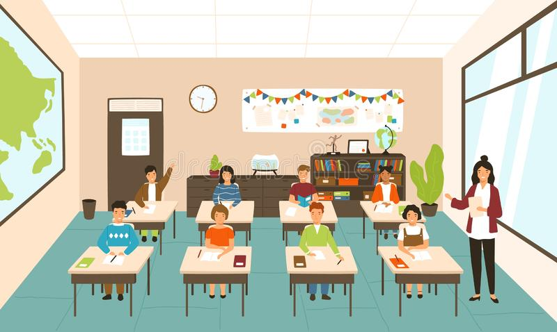 Pupils sitting at desks in modern classroom, young female teacher teaching them. Elementary school boys and girls vector illustration