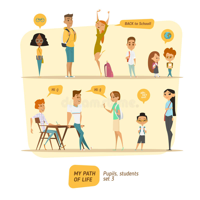 Pupils and students vector set royalty free illustration