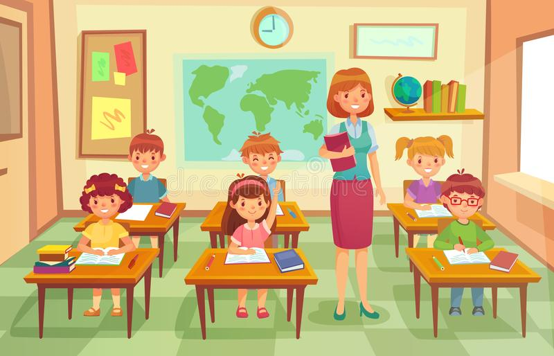 Pupils and teacher in classroom. School pedagogue teach lesson to pupil kids. Schools lessons at class cartoon vector. Pupils and teacher in classroom. School stock illustration