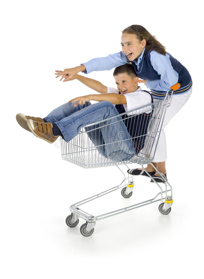 Pupils with trolley stock photos