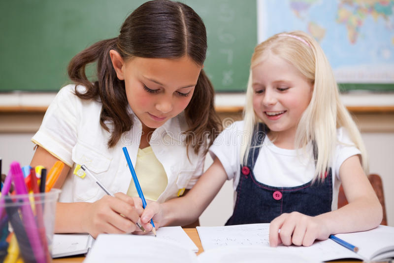 Pupils Working Together Stock Photography