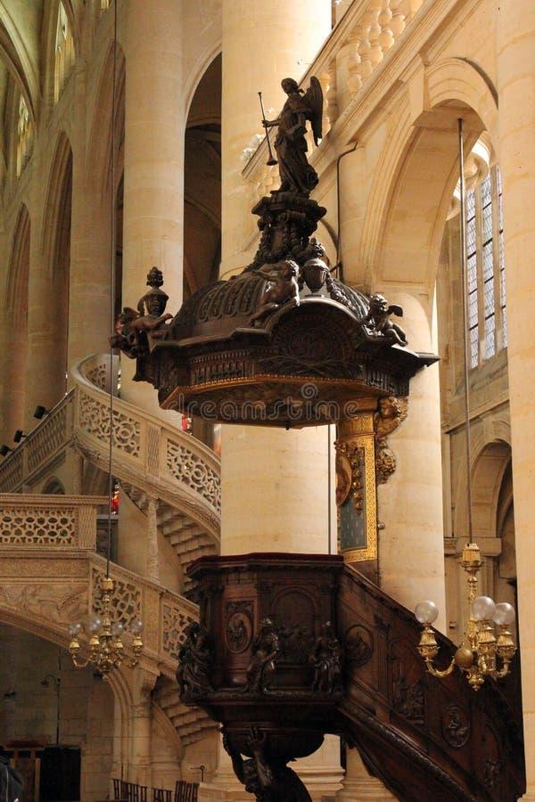 Pupitre, St Etienne du Mont Church, Paris photos stock