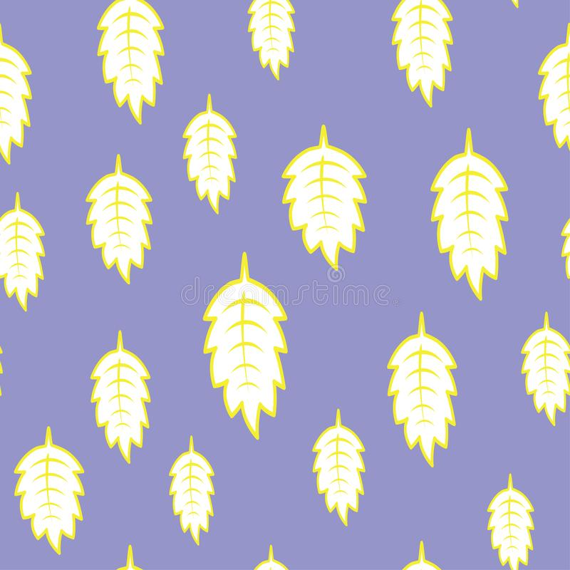 Puple background with yellow leaves. Seamless colorful pattern stock illustration