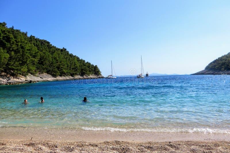 Pupnatska卢卡美丽的海滩科尔丘拉岛的,克罗地亚 本机和游人是游泳和晒日光浴 库存图片