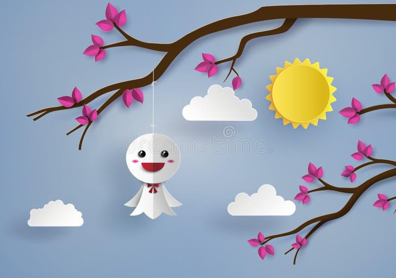 Puppe des japanischen Papiers gegen Regen lizenzfreie abbildung