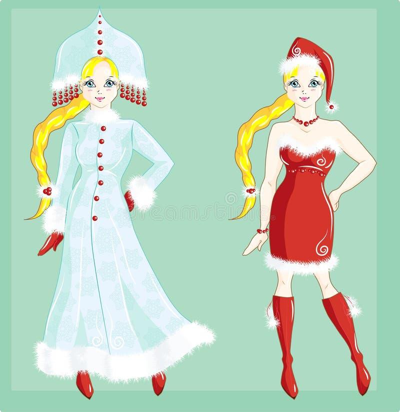 Puppe gekleidet als Schnee-Maid- und Weihnachtsmann-Mädchen lizenzfreie abbildung