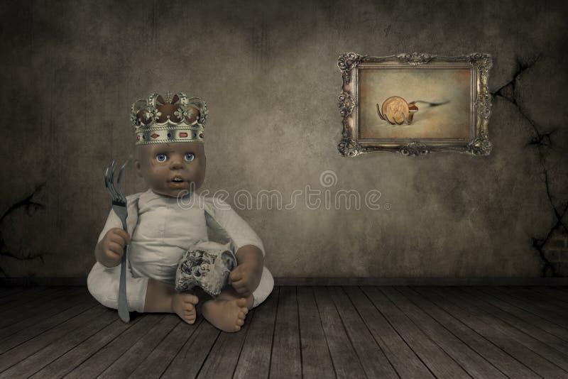 Puppe mit einer Krone stockfoto