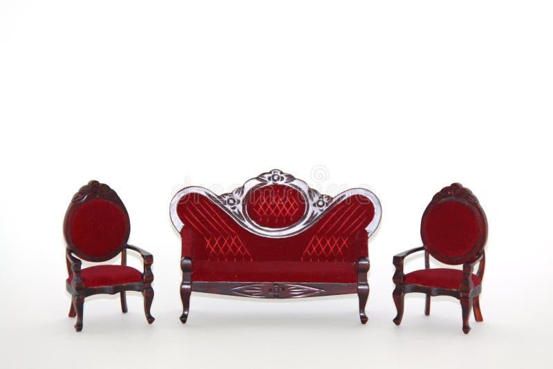 Puppehaus-Möbel-Wohnzimmerset lizenzfreie stockfotografie