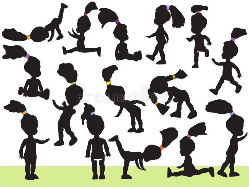 Puppen, Schattenbilder stock abbildung