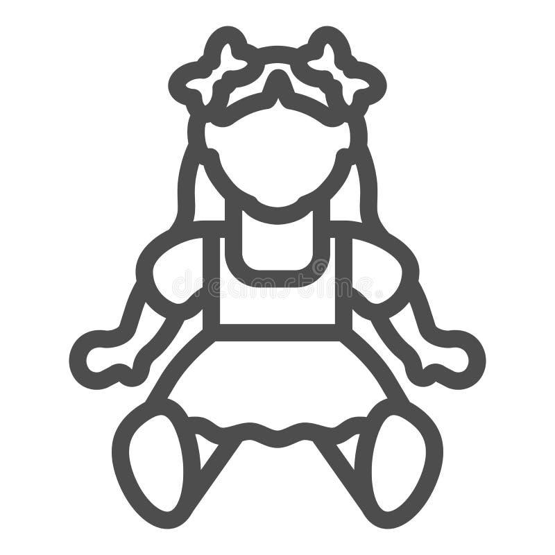 Puppenmädchenlinie Ikone Spielzeugvektorillustration lokalisiert auf Weiß Kinderspielzeugentwurfs-Artentwurf, bestimmt für Netz u vektor abbildung
