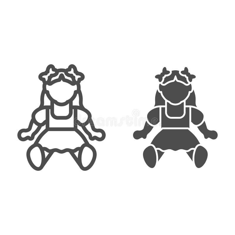 Puppenmädchenlinie und Glyphikone Spielzeugvektorillustration lokalisiert auf Weiß Kinderspielzeugentwurfs-Artentwurf, bestimmt f stock abbildung