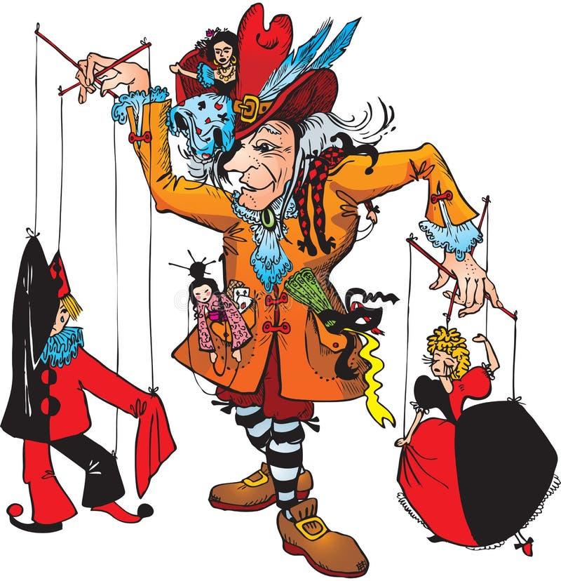 Puppenspieler und Marionetten lizenzfreie abbildung
