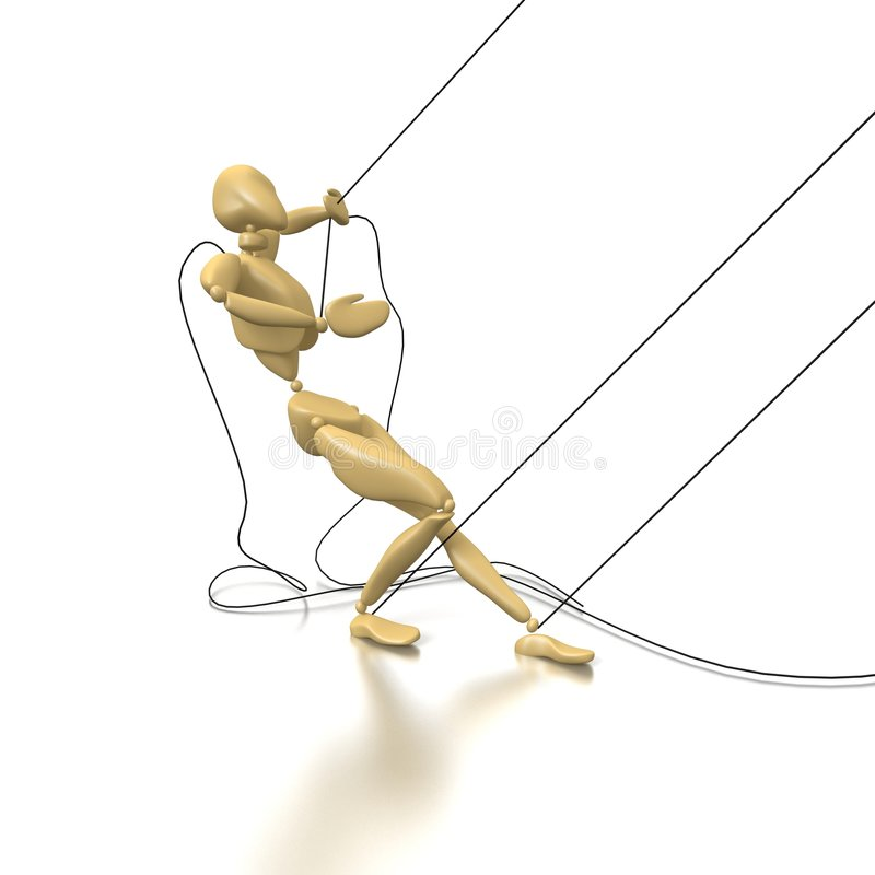 Puppet. A puppet tries to tear linking cordages royalty free illustration