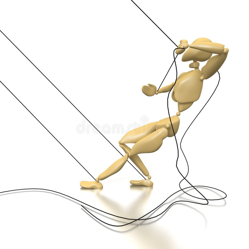 Puppet. A puppet tries to tear linking cordages vector illustration